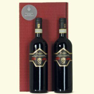 Weingeschenk Toscana 2 Flaschen im Vino Nobile di Montepulciano POLDO im Geschenkkarton